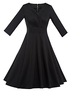 Women's Party Vintage Sheath Dress,Solid Deep V Knee-length Long Sleeve Cotton Polyester Black Summer High Rise Micro-elastic