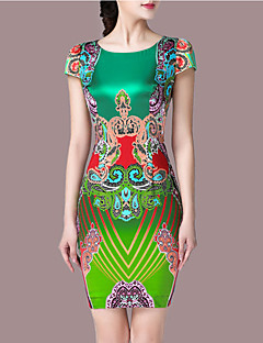 Women's Plus Size Going out Vintage Sheath Dress,Print Round Neck Above Knee Sleeveless Polyester Green Summer Mid Rise Micro-elastic