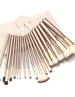 18 Makeup Brush Set Synthetic Hair Professional Portable Wood
