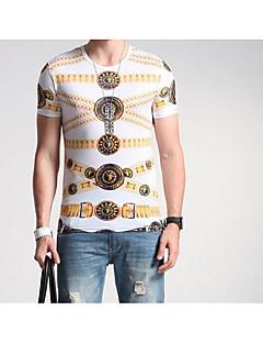 Heren Eenvoudig Alle seizoenen T-shirt,Casual/Dagelijks Effen Ronde hals Korte mouw Wit Rayon Medium
