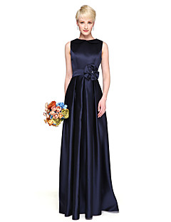 Sütun Taşlı Yaka Yere Kadar Saten Nedime Elbisesi ile Çiçek(ler) Pileler tarafından LAN TING BRIDE®