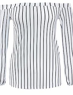 Dámské Proužky Jdeme ven Běžné/Denní Dovolená Sexy Jednoduché Šik ven Tričko-Léto Podzim Polyester Úzký výstřih Dlouhý rukáv Bílá