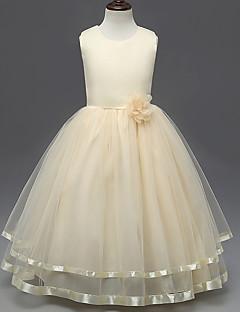 姫の床の長さ花の女の子のドレス - polysterノースリーブの宝石の首とbaiheでサテン