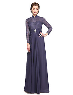 2017 Lanting Bride® A-line Mother of the Bride Dress - Elegant Floor-length Long Sleeve Chiffon Lace with Beading Lace Pleats