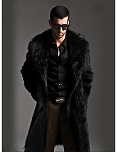 Men's Going out / Casual/Daily Vintage / Street chic Fur Coat,Solid Round Neck Long Sleeve Winter Black / Gray Faux Fur Medium