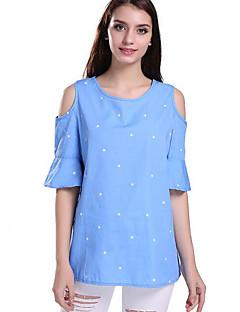 Feminino Camiseta Casual Moda de Rua Verão,Galáxia Azul Algodão Decote Redondo Manga Curta Média