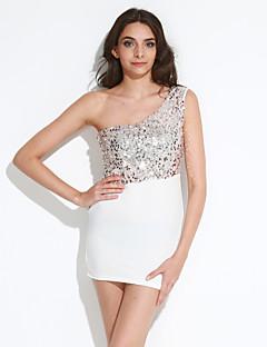 קיץ כותנה / פשתן / אחרים לבן ללא שרוולים מעל הברך טלאים סקסי מסיבה\קוקטייל שמלה צינור נשים,גיזרה גבוהה מיקרו-אלסטי דק