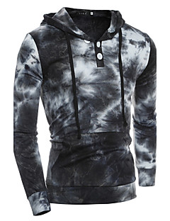 Men's Casual/Daily Simple Hoodie Print Round Neck Micro-elastic Cotton Long Sleeve Spring Fall