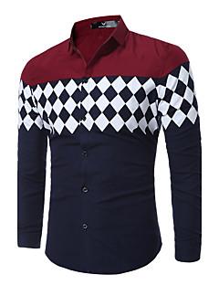 Heren Eenvoudig Street chic Lente Herfst Overhemd,Uitgaan Casual/Dagelijks Werk Geometrisch Klassieke boord Lange mouw Blauw ZwartKatoen