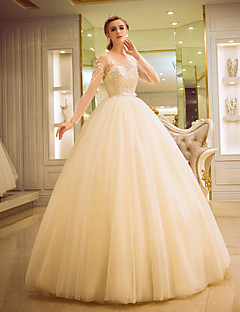 Ball Gown Wedding Dress - Elegant & Luxurious Glamorous & Dramatic Simply Sublime Floor-length Scoop Tulle withPattern Pearl Beading