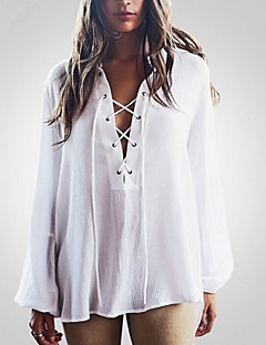 Women's Lace up Going out Beach Simple Street chic Blouse,Solid V Neck Long Sleeve White Polyester