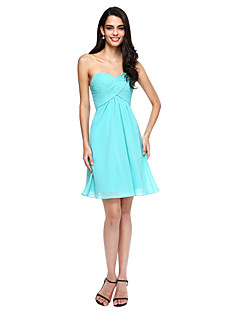LAN TING BRIDE Short / Mini One Shoulder Bridesmaid Dress - Mini Me Sleeveless Chiffon