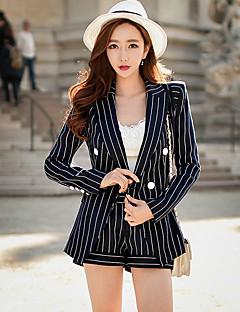 Dame Jachetă Ieșire Casul/Zilnic Muncă Vintage Șic Stradă Sofisticat,Dungi Manșon Lung Primăvară toamnă Guler Cămașă-Spălare Manuală