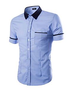 Bomull Blå Hvit Oransje Kortermet,Skjortekrage Skjorte Fargeblokk Enkel Chinoiserie Ut på byen Sport Herre