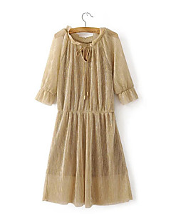 Women's Going out Casual/Daily Holiday Vintage Simple Sheath Chiffon Dress,Solid Patchwork Cut Out Bow Ruched Mesh Round Neck Knee-length