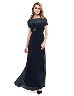 LAN TING BRIDE A-line Mother of the Bride Dress - See Through Floor-length Short Sleeve Chiffon Lace with Beading Criss Cross Ruching