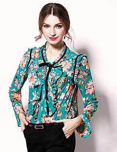 egeer  Women's Casual/Daily Sophisticated Spring BlouseFloral Stand Long Sleeve Brown Green Polyester Medium