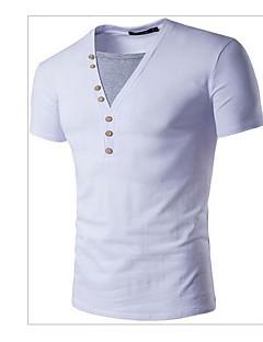 남성 솔리드 V 넥 짧은 소매 티셔츠,심플 캐쥬얼/데일리 화이트 블랙 면 여름 얇음
