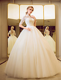Ball Gown Wedding Dress - Classic & Timeless Simply Sublime Floor-length High Neck Tulle with Beading Pearl Sequin