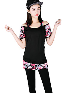 女性用 ランニングTシャツ(パンツ付き) 半袖 速乾性 高通気性 ランニングTシャツ+パンツ付き 洋服セット のために ヨガ エクササイズ&フィットネス ランニング モーダル ポリエステル スリム フクシャ アーミーグリーン S M L XL