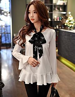 Feminino Blusa Para Noite Casual Férias Simples Fofo Sofisticado Primavera Outono,Sólido Estampa Colorida Retalhos BrancoPoliéster