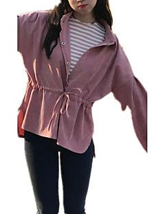 Vår Höst Enfärgad Långärmad Utekväll Ledigt/vardag Semester Skjorta,Gullig Streetchic Sofistikerat Dam Tröjkrage Övrigt Medium Rosa