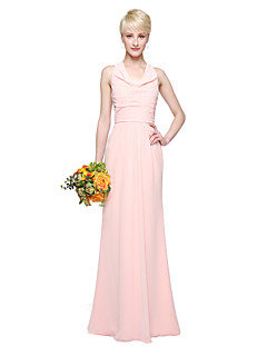 2017 Lanting Bride® Floor-length Chiffon Elegant Bridesmaid Dress - Sheath / Column Cowl with Pleats