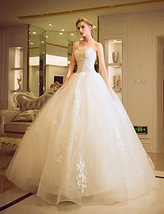 Ball Gown Wedding Dress - Classic & Timeless Elegant & Luxurious Floral Lace Floor-length Strapless Tulle withAppliques Beading Crystal