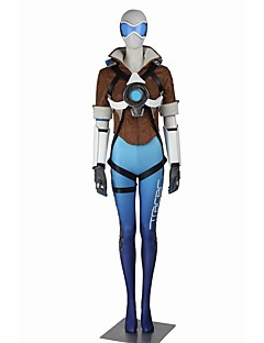 Inspired by Overwatch Serena Video Game Cosplay Costumes Cosplay Suits Cosplay Tops/Bottoms Color Block White Blue Brown Short SleeveCoat