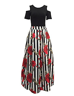 Women's Going out Holiday Sexy Vintage Off-The-Shoulder T-shirt Skirt SuitsStriped Floral Round Neck Short Sleeve Pleated Cut Out