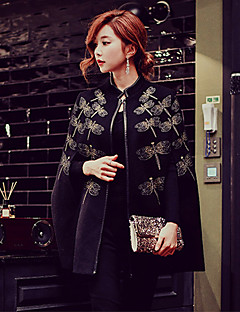 Women's Going out Casual/Daily Holiday Vintage Punk & Gothic Sophisticated Cloak/Capes,Solid Print Stand Long Sleeve Spring FallDry clean