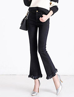 Dames Bootcut Grote maten Jeans Broek,Effen Casual/Dagelijks Street chic Kwastje Medium taille Knoop Katoen Micro-elastisch All Seasons