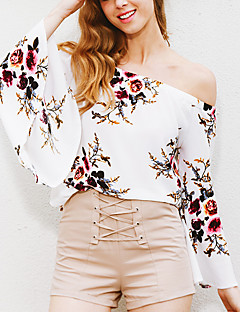 Women's Going out Holiday Sexy Vintage Spring Fall T-shirtFloral All Match Backless Off-The-Shoulder Boat Neck Long Sleeve