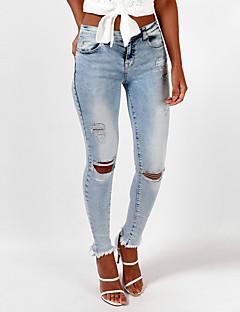 Dames Skinny Jeans Broek,Effen Uitgaan Vakantie Eenvoudig Street chic Gescheurde Hoge taille Rits Polyester Micro-elastisch Veer Herfst