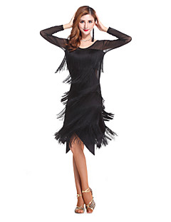 Latin Dance Women's Fashion Performance Spandex Tassel(s) Dresses Black