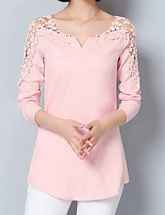 Alla årstider Vår Enfärgad Långärmad Formella Arbete Utekväll Skjorta,Sexig Streetchic Sofistikerat Dam Asymmetrisk Övrigt MediumBlå Rosa