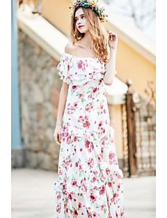 Dame Simpel I-byen-tøj Ferie Løstsiddende Kjole Blomstret,Bateau-hals Maxi Uden ærmer Rosa Polyester Forår Højtaljede Uelastisk Medium