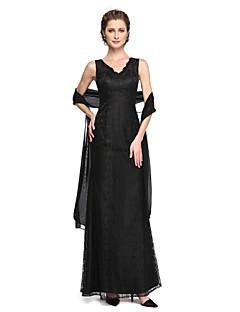 Lanting Bride® Tubinho Vestido Para Mãe dos Noivos - Brilho & Glitter Duas Peças Até o Tornozelo Sem Mangas Renda Paetês  - Renda
