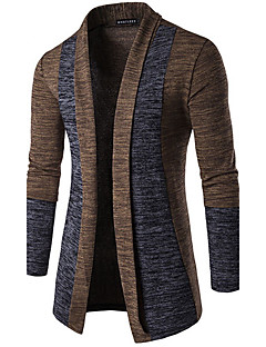 Men's Casual/Daily Simple Regular Cardigan,Solid Brown Gray V Neck Long Sleeve Cotton Spring Medium Micro-elastic