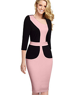 Women's Work Sexy Bodycon Dress,Patchwork Asymmetrical Knee-length ¾ Sleeve Polyester Pink Spring Summer Mid Rise Micro-elastic