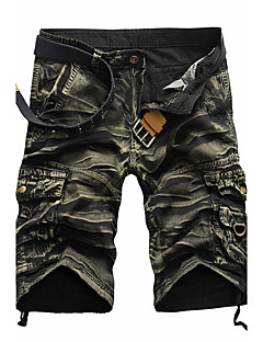 Men's Loose Shorts Pants,Casual/Daily Beach Holiday Simple Active Punk & Gothic Camouflage Pleated Mid Rise Zipper Cotton Micro-elastic