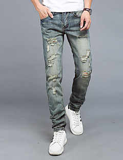 Mid Rise Micro-elastic Jeans Pants,Simple Straight Solid