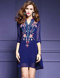 Women's Plus Size Going out Sophisticated A Line Dress,Embroidered V Neck Above Knee ½ Length Sleeve Polyester Blue White Spring Mid Rise