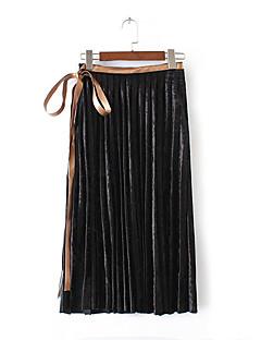 Femme Jupes,Crochet Couleur PleineTaille Normale Vintage simple Chinoiserie Maxi Sortie Décontracté / Quotidien Vacances Coton Polyester