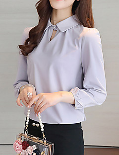 Women's Casual/Daily Work Simple Spring Summer Blouse,Solid Stand Long Sleeve Pink White Polyester Thin