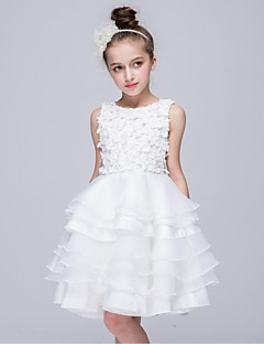 Ball Gown Knee-length Flower Girl Dress - Organza Sleeveless Jewel with Appliques