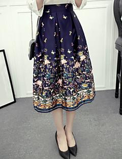 נשים גזרת A דפוס חצאיות,סגנון רחוב ליציאה,Midi גיזרה גבוהה רוכסן Polyesteri קשיחות קפיץ