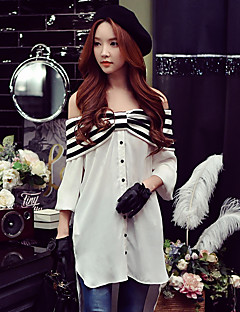 Women's Going out Casual/Daily Holiday Sexy Street chic Sophisticated Spring Blouse,Striped Patchwork Off Shoulder Long Sleeve White