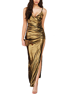 Women's Party/Cocktail Club Sexy Simple Sheath DressSolid Backless Ruched Split Strap Maxi Sleeveless Summer FallMid