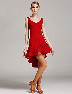 라틴 댄스 드레스 여성용 성능 레이스 레이스 1개 민소매 높음 드레스